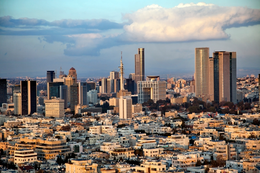 Israel has business lessons to share; here, the bustling hub of Tel-Aviv at dusk.